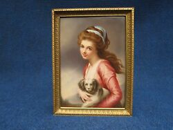 Kpm Porcelain Plaque Of A Girl Holding King Charles In Very Gd Condition 19th.