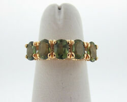 Natural 2.00cts Green Sapphires Solid 18k Yellow Gold 5mm Band Free Sizing