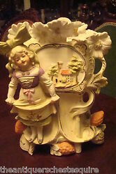 Carl Schneider's Heirs 130 Years Old Bisque Planter Girl W/bow,dove And Flowers[9