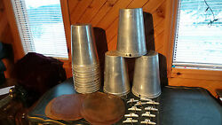 Lot Of 22 Maple Syrup Sap Buckets + 22 Lids Covers + 22 Taps Spouts Spiles