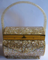 WILARDY VINTAGE MOTHER OF PEARL & GOLD GLITTER LUCITE PURSE COMPACT BAG