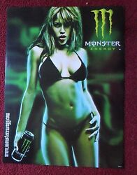 Sexy Girl Dorm Poster Monster Energy Drink ZOMBIE in a Black Swimsuit Bikini