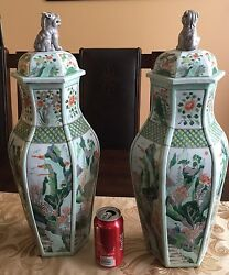 A Pair Of Large Chinese Porcelain Vases