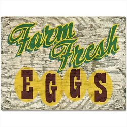Farm Fresh Eggs Vintage Style Country Kitchen Sign Chicken Coop Decor 16 x 12