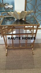 New Geometrical Gold End Side Iron Mirror Magazine Rack Accent Table
