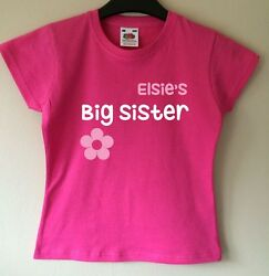 BIG SISTER PERSONALISED PERSONALIZED GIRLS T SHIRT TSHIRT CLOTHES GIFT IDEA GBP 8.99