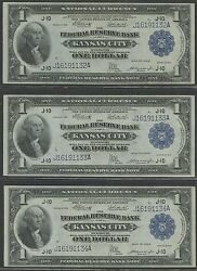 FR739 (3) CONSECUTIVE GEM UNC FRBN NOTES W FULL EMBOSSING WL8651 KEY