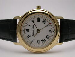 And Co M193 18k Gold Black Leather Strap Mens Watch