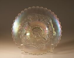 Dugan Glass Company Carnival Glass White Opalescent Double Stem Rose Bowl C.1910