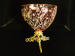 Beautiful Hand Painted And Enameled Cranberry Bowl On Ornate Gilt Stand Circa 1885