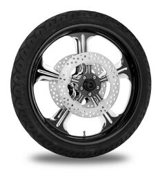 Performance Machine 21 Front Black Wrath Wheel Tire Rotor Package Harley 14-15