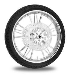 Xtreme Machine Execute Chrome 21 Front Wheel Tire Rotor Package Harley 14- Abs