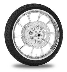 Xtreme Machine Launch Chrome 21 Front Wheel Tire Rotor Package Harley 08-16 Abs