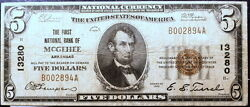 1929 Mcgeehee, Arkansa 13280 Five Dollar National Currency Note