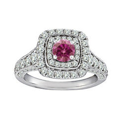 1.5 Cts Pink Diamond Solitaire Double Halo Ring 14k Wg Valentine Day Spl.sale
