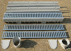 Mea-josam Cps100-10 - 10and039 Complete Trench Drain Kit 4 Wide Galvanized Grate