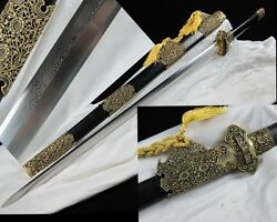 Folding Pattern Steel Chinese Tang Sword Brass Sharp Hand Forge High Quality #09