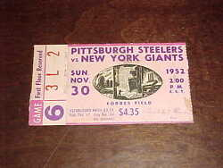 1952 New York Giants V Pittsburgh Steelers Football Ticket Record Setting
