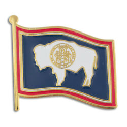 Pinmartand039s Wyoming Us State Flag Wy Enamel Lapel Pin 1