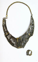 Vintage Wooden Hinge And Brass Steampunk Necklace And Ring