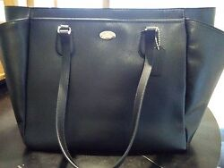 Nwt Coach Black Crossgrain Leather Baby Work Carry On Multifunction Bag 35702
