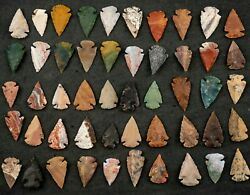 50 Pc Lot Flint Arrowhead Oh Collection Project Spear Points Knife Blade