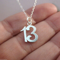 Number 13 Charm Necklace 925 Sterling Silver 13th Thirteen Birthday Anniversary