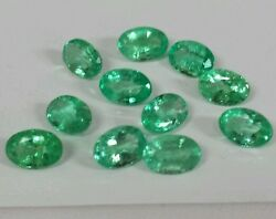 Colombian Emeralds Rare Maine Loose 11pcs 4.87cts 6x4mm Ovals Maching Line.