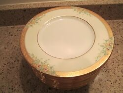 12 Minton Enameled And Gold Luncheon Plates For Tatman Chicago Circa 1929