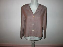 Frances Francis Brown Linen Top Shirt Blouse W/ Abalone Buttons S Usa