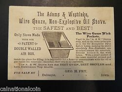 The Adams And Westlake Wire Gauze,non-explosive Oil Stove Antique Advertising Card