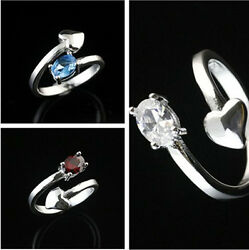 925 Solid Sterling Silver Plated Women Fashion zircon Ring Gift SIZE Open HR435