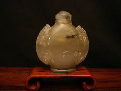 Vintage Chinese Carved Agate Lions Snuff Bottle 2 3/8 Tall