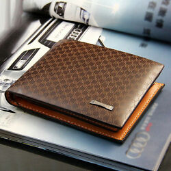 Men#x27;s Leather Bifold ID Card Holder Purse Wallet Billfold Handbag Slim Clutch $9.74