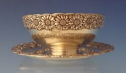 Vine By And Co. Sterling Silver Dip Dish W/underplate And Daisy Motif 0117