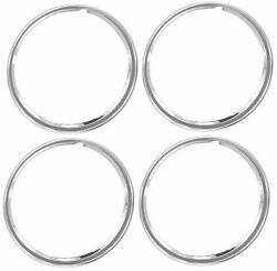 14 Chrome Stainless Steel Hot Rod Style Smooth Beauty Rings Trim Ring Set Of 4