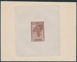 Liberia 236p Die Proof On India Sunk On Card W/ Control Red Brown Bs3474