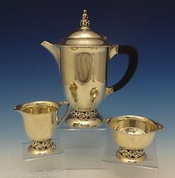 Mueck-carey Co. Sterling Silver Tea Set 3pc With Ebony And Lily Motif 0485