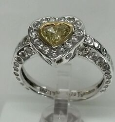 14k White Gold Engagement 1.70cttw 0.70cth/s Fancy Yellow Diamond 1.00ct Side D.
