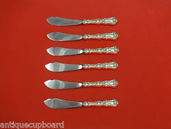 Imperial Chrysanthemum By Gorham Sterling Silver Trout Knife Set 6pc Hh Custom