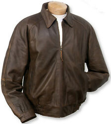 Bod And Christensen Menand039s Brown Leather Bomber Soft Lambskin Jacket Size 40-46