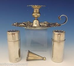 Whiting Sterling Silver Chamber Stick Set 4pc W/pierced Floral Border 0727