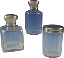 Christofle Sterling Silver Dresser Jar Set 3pc Two Round And One Square 0747
