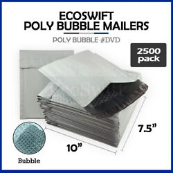 2500 0 7.5x10 Poly Bubble Mailers Padded Envelope Shipping Bags Dvd 7.5 X 10