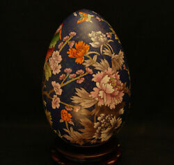 11 1/2 H Vintage Chinese Cloisonne Egg With Rosewood Stand