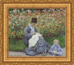 Claude Monet Camille Monet And A Child Framed Canvas Print 27x23.5 V08-03
