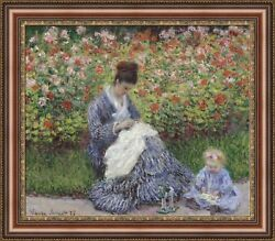 Claude Monet Camille Monet And A Child Framed Canvas Print 31x27 V08-04
