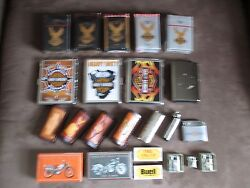 Rare Mini Harley Lighters Cases Cigarettes Holders Tin Matches Collection Lot