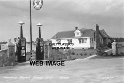 1954 Texaco Gas Station 8x10 Photo-sign-cabin Gould City Michigan Lighted Pump