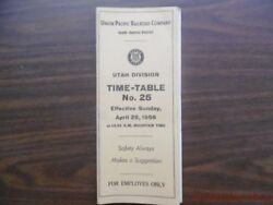 1956 Union Pacific Railroad Employee Timetable 25 Utah Division South-central Up